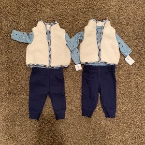 Carter's Twin Boys Sherpa Vest Winter Outfits 3 Mo